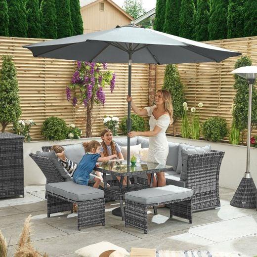 Compact Cambridge Reclining Casual Dining Corner Sofa Set with Parasol Hole - Grey