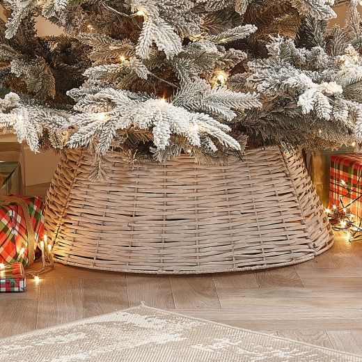 70cm Round Willow Christmas Tree Ring (Collapsible) - White