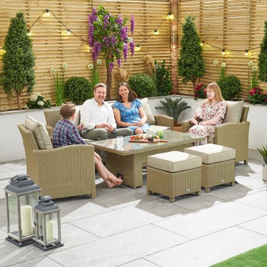Ciara 3 Seat Rattan Casual Dining Sofa Set with Rising Table - Willow
