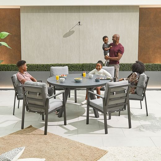 Enna 6 Seat Dining Set - 1.4m Round Table - Grey Frame