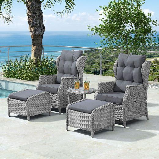 Skylar Reclining Lounge Companion Set - White Wash