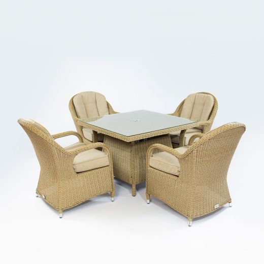 Leeanna 4 Seat Dining Set - 1m Square Table - Willow