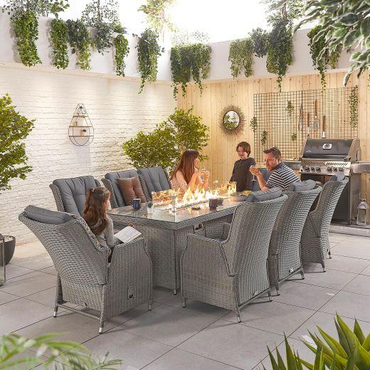 Carolina 8 Seat Dining Set - 2m x 1m Rectangular Firepit Table - White Wash
