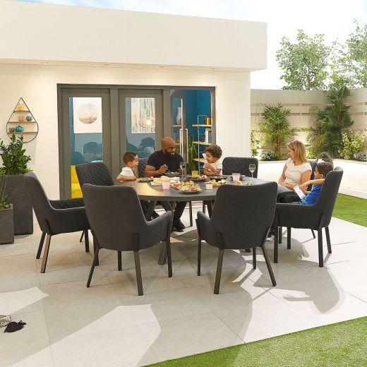 Genoa Outdoor Fabric 8 Seat Round Dining Set - Dark Grey
