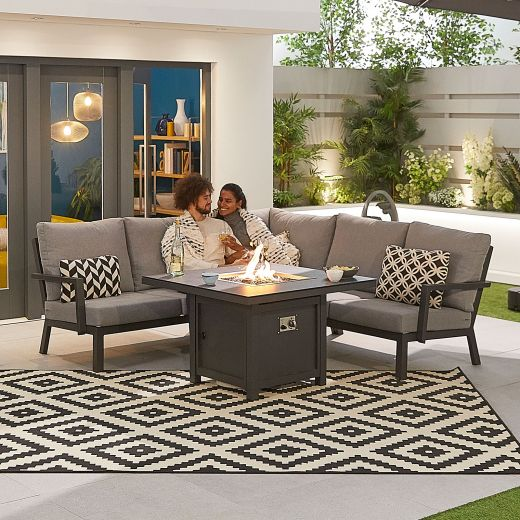 Compact Vogue Aluminium Casual Dining Corner Sofa Set with Firepit Table - Grey Frame