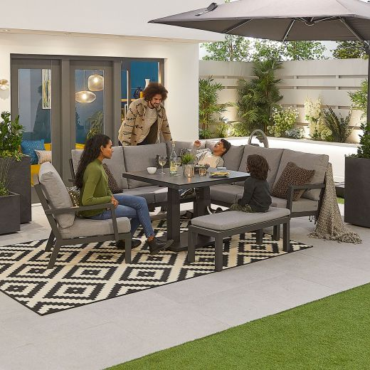 Compact Vogue Aluminium Casual Dining Corner Sofa Set with Rising Table & Armchair & Bench - Grey Frame