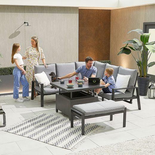 Compact Enna Aluminium Reclining Casual Dining Corner Sofa Set with Rising Table & Bench - Grey Frame