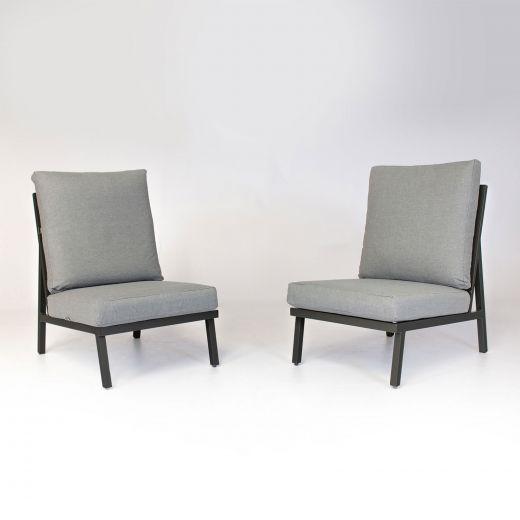 Pair of Enna Aluminium Modular Middle Seats - Grey Frame