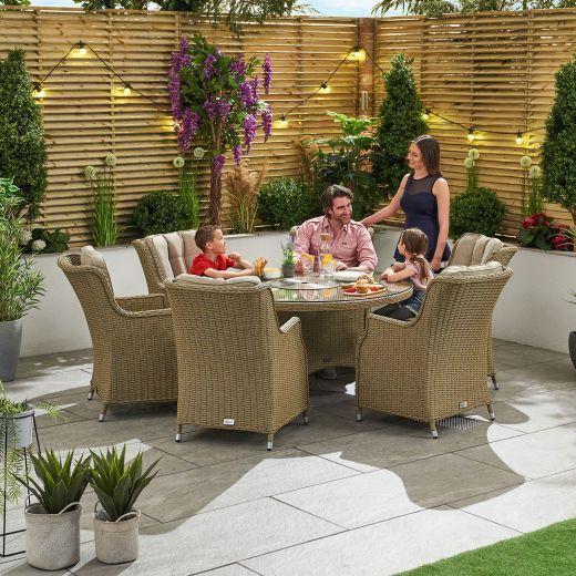 Thalia 6 Seat Dining Set - 1.35m Round Ice Bucket Table - Willow