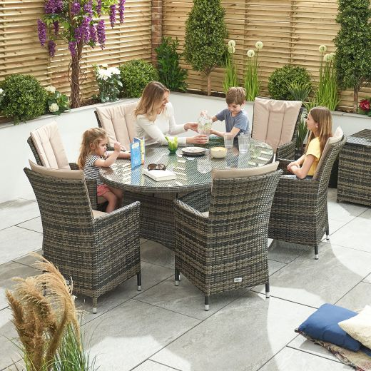 Sienna 6 Seat Dining Set - 1.8m x 1.2m Oval Table - Brown