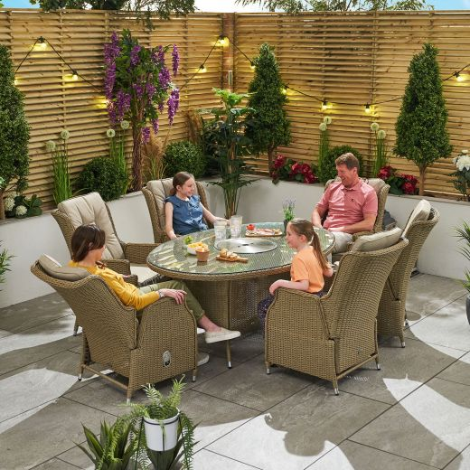Carolina 6 Seat Dining Set - 1.8m x 1.2m Oval Ice Bucket Table - Willow