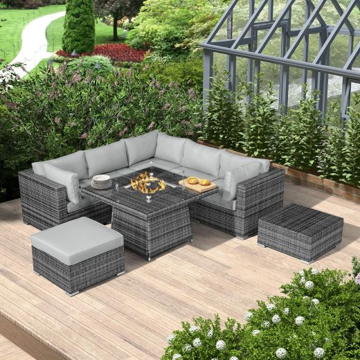 Chelsea 1C Corner Sofa Set with Firepit Table - Grey