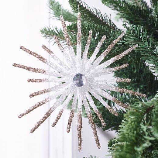 Crystal Ball Glitter Snowflake Hanging Ornament