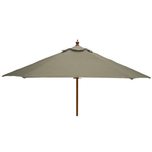 Pulley Operated Wooden Garden Parasol - 2m Round - Taupe