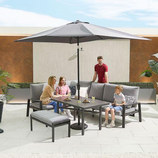 Enna Left Hand Aluminium Reclining Casual Dining Corner Sofa Set with Parasol Hole & Bench - Grey Frame