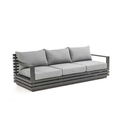 San Marino Aluminium 3 Seat Sofa - Grey Frame