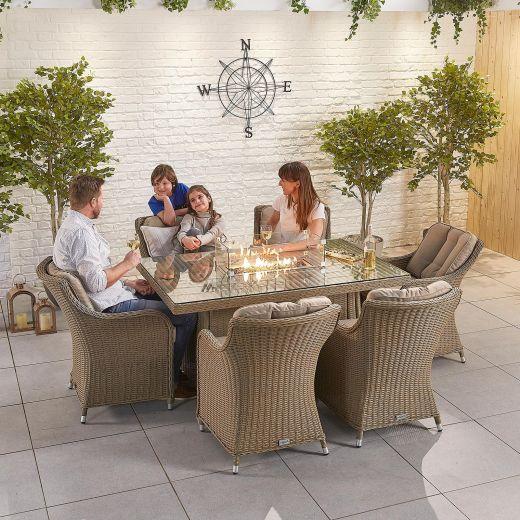 Camilla 6 Seat Dining Set - 1.5m x 1m Rectangular Firepit Table - Willow