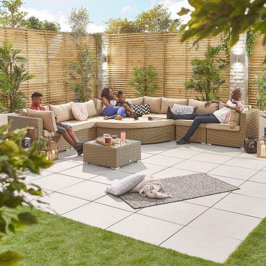 Deluxe Hampton 2A Rattan Corner Sofa Set - Willow