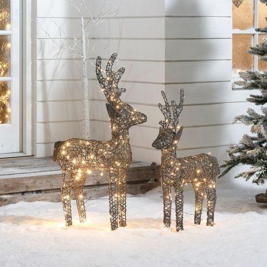 The Ralph Siblings - 100cm & 80cm Grey Rattan Christmas Reindeer