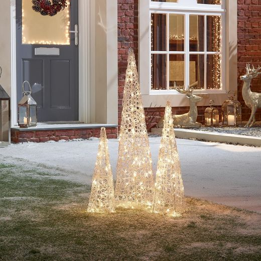 Set of 3 Soft Acrylic Christmas Pyramids - Warm White