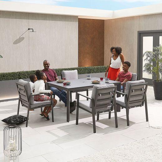 Enna 6 Seat Dining Set - 1.5m x 1m Rectangular Table - Grey Frame