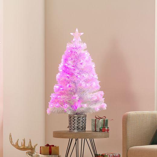 3ft Fibre Optic White & Pink Artificial Christmas Tree