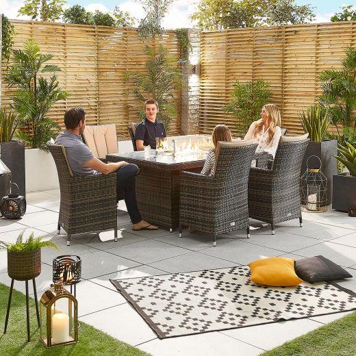 Sienna 6 Seat Rattan Dining Set - 1.5m x 1m Rectangular Firepit Table - Brown