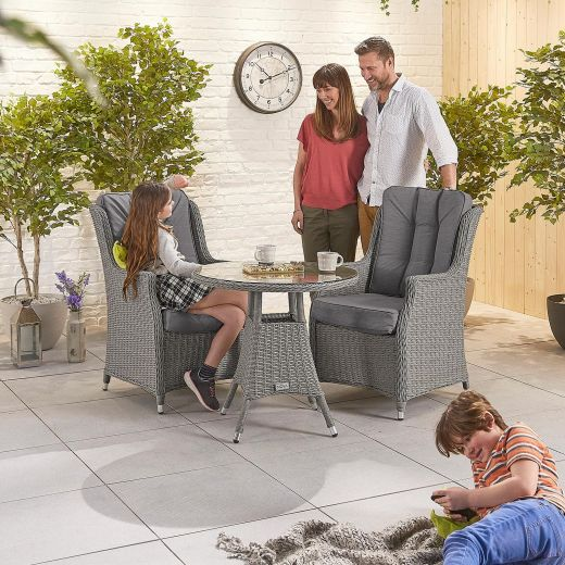 Thalia 2 Seat Bistro Set - 75cm Round Table - Slate Grey