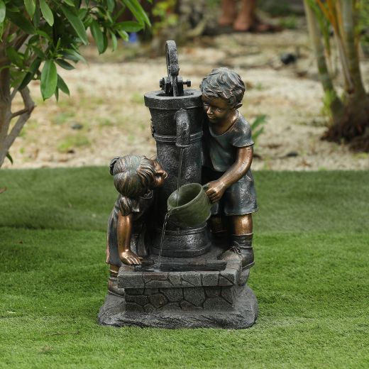 Jack And Jill Water Pump Water Feature - Bronze