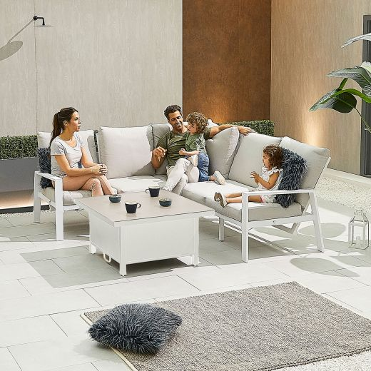 Compact Enna Aluminium Reclining Casual Dining Corner Sofa Set with Rising Table - White Frame