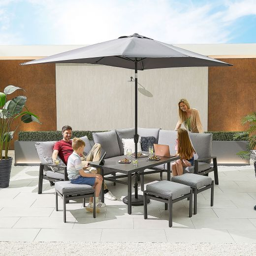 Enna Right Hand Aluminium Reclining Casual Dining Corner Sofa Set with Parasol Hole & Footstools - Grey Frame