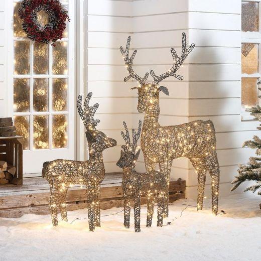 The Medium Ralph Family - 150cm 100cm & 80cm Grey Rattan Christmas Reindeer