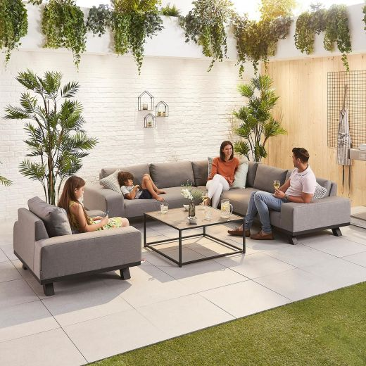Tranquility Outdoor Fabric Corner Sofa Set with Armchair - Light Grey