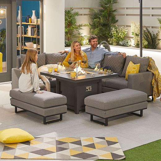Compact Eclipse Outdoor Fabric Casual Dining Set with Benches and Firepit Table - Light Grey