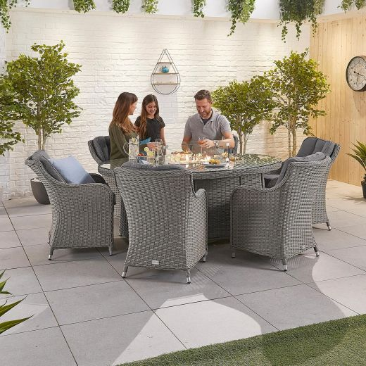 Camilla 6 Seat Dining Set - 1.8m x 1.2m Oval Firepit Table - White Wash