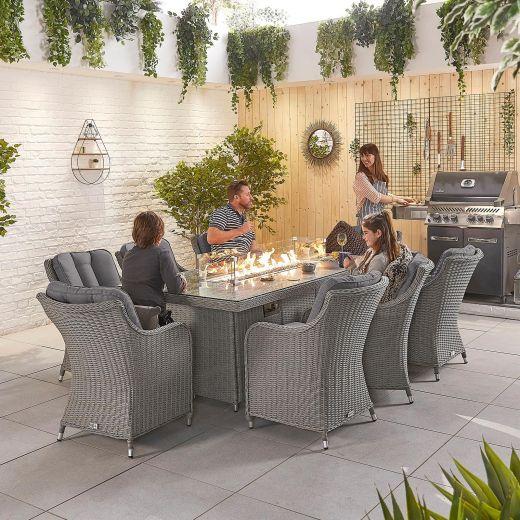 Camilla 8 Seat Dining Set - 2m x 1m Rectangular Firepit Table - White Wash