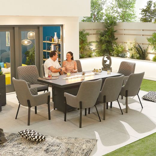 Genoa Outdoor Fabric 8 Seat Rectangular Dining Set with Firepit Table - Light Grey
