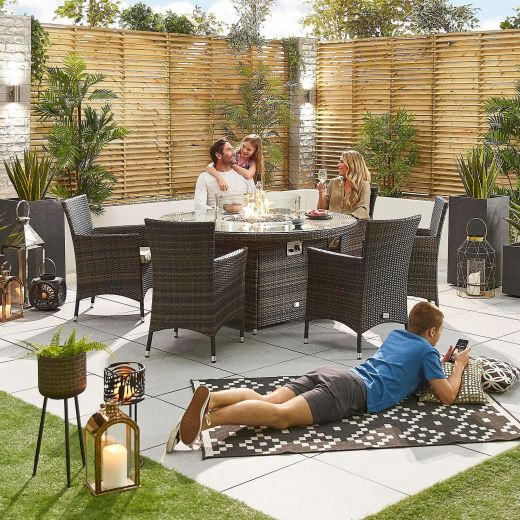 Amelia 6 Seat Dining Set - 1.5m Round Firepit Table - Brown