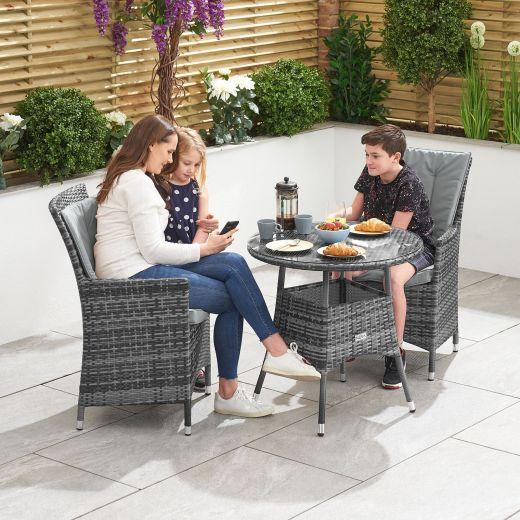 Sienna 2 Seat Bistro Set - 75cm Round Table - Grey
