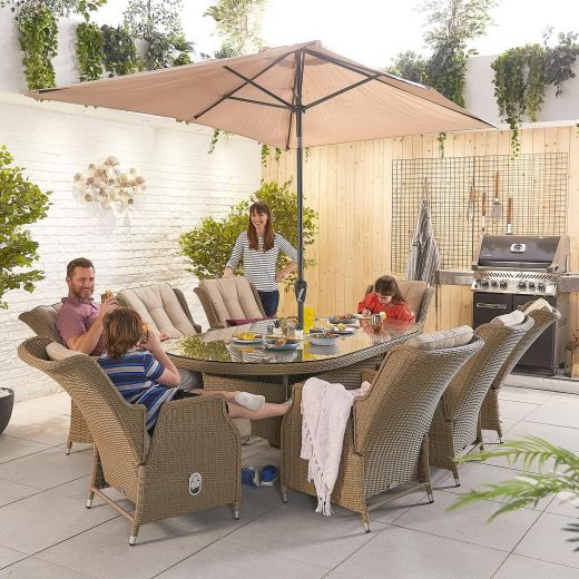 Carolina 8 Seat Dining Set - 2.3m x 1.2m Oval Table - Willow