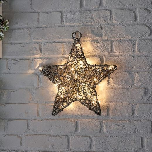 Ringo the 40cm Grey Rattan Christmas Star - Battery Operated