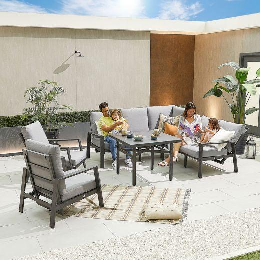 Compact Enna Aluminium Reclining Casual Dining Corner Sofa Set with Parasol Hole & Armchairs - Grey Frame