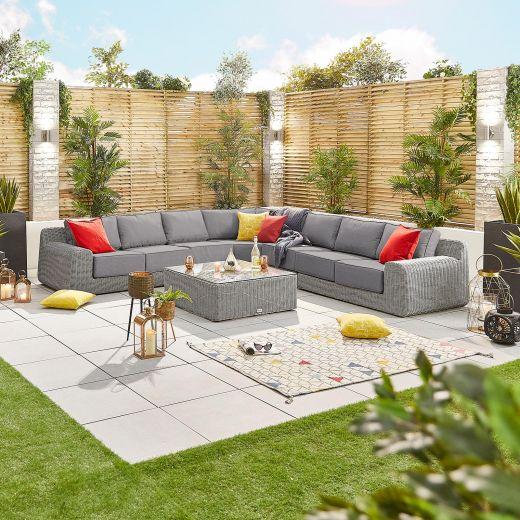 Luxor 2E Corner Sofa Set - White Wash