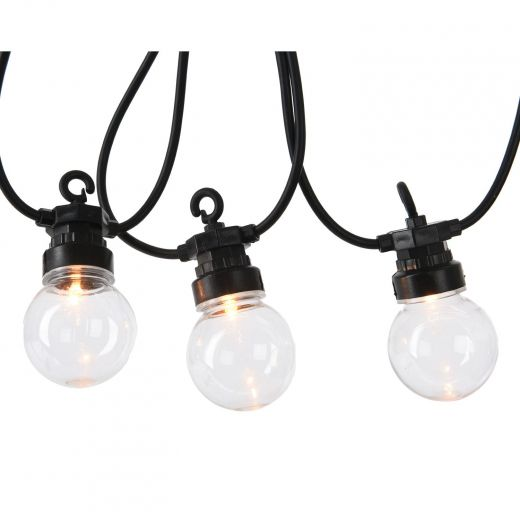 20 LED Warm White Clear Globe Christmas Lights (Extension Set)