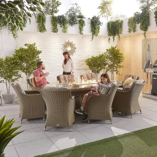 Camilla 8 Seat Dining Set - 2.3m x 1.2m Oval Firepit Table - Willow