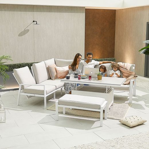 Enna Left Hand Aluminium Reclining Casual Dining Corner Sofa Set with Rising Table & Bench - White Frame