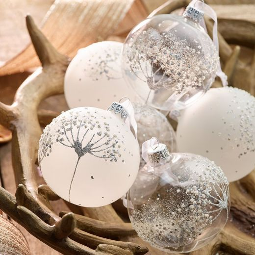 Christmas Rituals Set of 6 Assorted Glass Flower Baubles