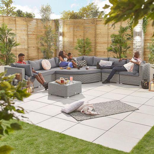 Deluxe Hampton 2A Rattan Corner Sofa Set - White Wash