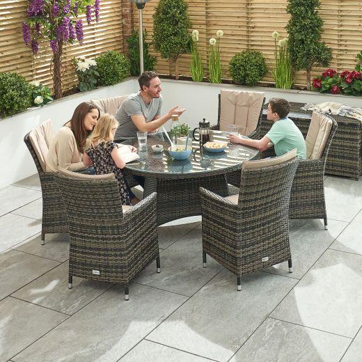 Sienna 6 Seat Dining Set - 1.3m Round Table - Brown