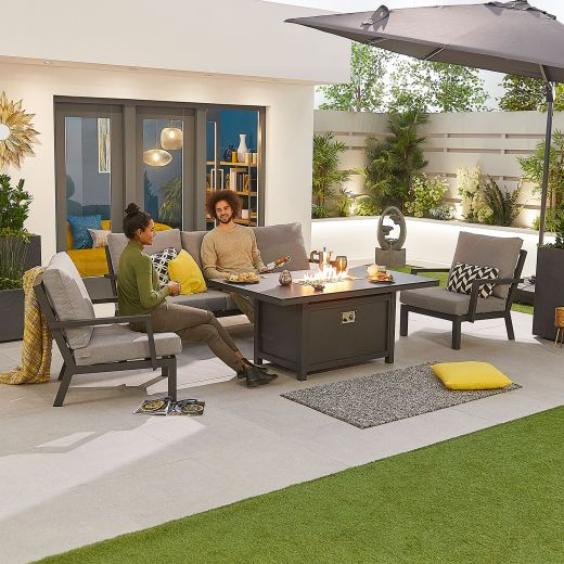 Vogue Aluminium Casual Dining 3 Seater Sofa Set with Firepit Table - Grey Frame